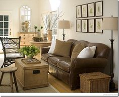 nice neutral living room with leather couch