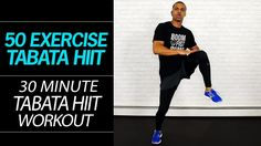 Get your heart racing with this 30 minute, 50 exercises, tabata workout.   Each move performed for 20 seconds, with a 10 second break in between moves. To make it more interesting, put on a energising music soundtrack as well.   In a small screen in the corner, Millionaire Hoy previews the move, so you know what you are doing next.   Enjoy;)