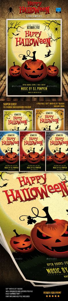 Happy Halloween Flyer Template PSD #design Download: http://graphicriver.net/item/happy-halloween-flyer-template/9100146?ref=ksioks