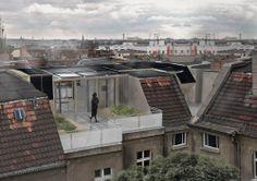 "Solar Decathlon 2014, Konzept ""Rooftop"", Rendering Hinterhof, Grafik: Team Rooftop, UdK Berlin & TU Berlin"