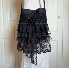 Ruffled Black Lace Bag  Gypsy Gothic Lace Bag  by Pursuation