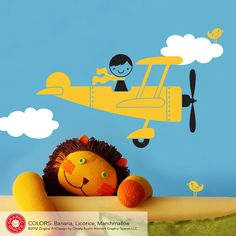 Kids Airplane Boy Wall Decal Baby Nursery by graphicspaces on Etsy, $30.00