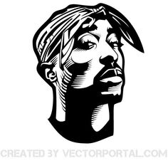 Vector portrait of rapper Tupac Shakur.
