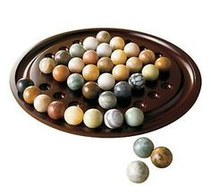 Solitaire Handcrafted Wooden  Game With Marbles Bombay Exclusive Brand