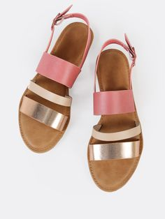 Online shopping for Three Strap Slingback Sandals ROSE GOLD from a great selection of women's fashion clothing & more at MakeMeChic. Cute Sandals, Cute Shoes, Shoes Sandals, Heels, Me Too Shoes, Sneakers Fashion, Fashion Shoes, Women's Fashion, Flats