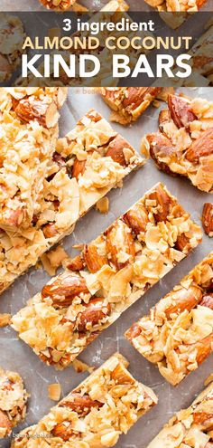 3 Ingredient Kind Bars Recipe – Almond Coconut: the easiest Kind bars, coconut and almond flavored. Just 3 ingredients for chewy, crunchy, healthy coconut almond bars! #KindBars #Kind #Almond #Coconut   Recipe at BeamingBaker.com Vegan Gluten Free Desserts, Healthy Breakfast Recipes, Holiday Desserts, Healthy Desserts, Healthy Food, Coconut Recipes, Almond Coconut Kind Bar Recipe, Kind Bars, Almond Bars
