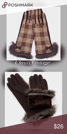 Brown plaid touch screen gloves angora trim Touch screen gloves, taupe and brown plaid, fleece lined , bow detail and Angora trim, Accessories Gloves & Mittens