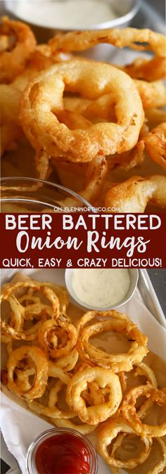 The very BEST Beer Battered Onion Rings that are so easy to make! Crunchy, flavorful & perfect in your favorite dipping sauce. Positively delicious!