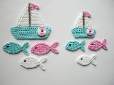 Crochet Patterns Vintage Crochet applique, sailboat set with fish Cute Crochet, Crochet Motif, Vintage Crochet, Crochet Crafts, Crochet Flowers, Crochet Toys, Crochet Projects, Applique Patterns, Knitting Patterns