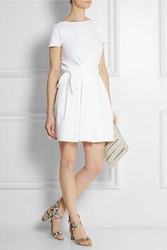 Carven|Gathered cotton-poplin dress|NET-A-PORTER.COM
