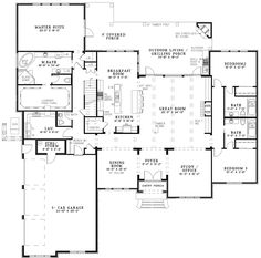 Arts and Crafts House Plan First Floor - 055S-0127 | House Plans and More  Ranch floor plan