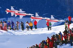The Patrouille Suisse, the aerobatic team of the Swiss Air Force, is seen here demonstrating its skills before the start of the Lauberhorn Races,