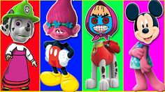 Learn Colors Wrong Heads Paw Patrol Mickey Mouse Trolls - Colors For Chi...