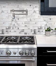 White Glass Metal Modern Backsplash Tile. Pinned By #ChiRenovation    Www.chirenovation.