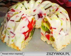 Mleczna galaretka  SKŁADNIKI: galaretka zielona 2 opakowania galaretka żółta 2 opakowani galaretka czerwona 2 opakowania mleko 2 szklanki śmietana słodka 1 szklanka cukier waniliowy 1 opakowanie cukier ok. 1 szklanka żelatyna 20g   PRZYGOTOWANIE: Dwie galaretki rozpuszczamy w trzech szklankach wody. Każdy kolor osobno. Ostawiamy do stężenia (najlepiej na noc). Gdy galaretki dobrze zastygną kroimy w kostkę. Formę od babki  wykładamy folią tak by zwisała za brzeg. Pokrojone galaretki…