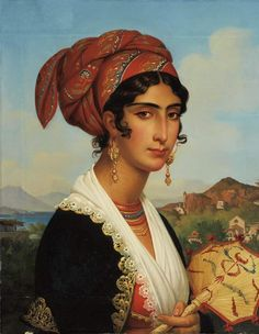 """loumargi: """"Jean Guillaume Elsidor Naigeon French, Portrait of a Young Woman of Ischia, 1829 """" Spanish Woman, Spanish Art, Female Portrait, Female Art, Contemporary History, Art Thou, European Paintings, Portraits, French Artists"""