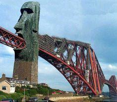 Strange Easter Island Forth Railway Bridge. Food in, food out.