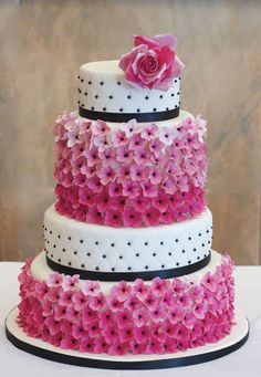 white and black wedding cake with bright pink flowers ~ we ❤ this! moncheribridals.com
