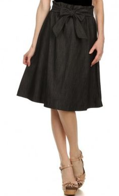 Womens unique bowknot denim mid-length skirt with flouncing elastic waist available in black and denim blue