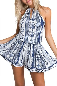Boho Sleeveless Halter Self-tie Romper