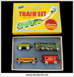 Trackless Train Set, KAY (SPORTS & GAMES) Ltd, Great Britain. (Picture 1 of 2). Vintage Tin Litho Tin Plate Toy. Wind-Up / Clockwork Mechanism. Action - Floor Train. Photo in DOCKERILLS - TIN TOY REFERENCE - GREAT BRITAIN - Google Photos