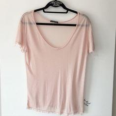 "NWOT rose pink sheer Katerina top 26"" in length, a hole under Brandy tag Brandy Melville Tops Tees - Short Sleeve"