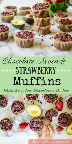 Chocolate Avocado Strawberry Muffins! Chocolate Avocado Strawberry Muffins! Totally Paleo, naturally sweetened, dairy-free and gluten free....you are going to fall in love with how simple and amazing this recipe is! Healthy, gluten free, dairy free, grain free and veggie-loaded..these taste bites are only made from the good stuff!
