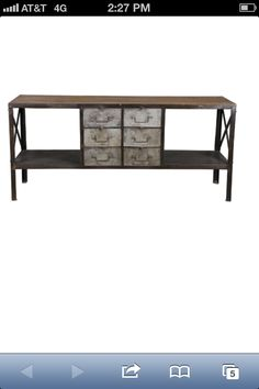 coffee table. industrial drawers.