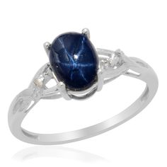 Liquidation Channel: Thai Blue Star Sapphire Diffused and Diamond Ring in Platinum Overlay Sterling Silver (Nickel Free