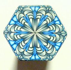 Gray Blue and White Hexagon Polymer Clay Cane door ClaybyKerm
