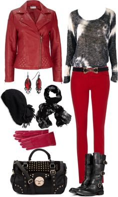 """Red and Black in Winter"" by angela-windsor on Polyvore"