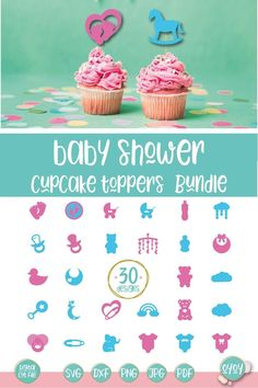 Baby Shower Cake Toppers SVG Bundle is a set of 30 designs to create beautiful decorations for Baby Shower Party! #ad Diy Cake Topper, Baby Shower Cupcake Toppers, Cake Topper Tutorial, Birthday Cake Toppers, Shower Party, Baby Shower Parties, Shower Cakes, Baby Shower Decorations, Shower Designs