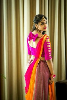 Blouse back neck designs are everything when it comes to picking a good blouse. Here are 40 latest blouse back neck designs that will inspire you to stitch the best blouse for your big day! Blouse Back Neck Designs, Stylish Blouse Design, Sari Blouse Designs, Designer Blouse Patterns, Fancy Blouse Designs, Blouse Designs Catalogue, Stylish Sarees, Sleeve Designs, Saree Blouse