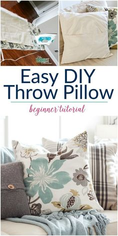 I want to throw my sewing machine out the window every time I use it, but this tutorial is SO easy! Now I want to make throw pillows for the entire house! Easy DIY Throw Pillow Cover tutorial for beginners diy sewing Easy DIY Throw Pillow Covers Diy Throws, Diy Throw Pillows, Diy Pillow Covers, How To Make Pillows, Sewing Pillow Cases, Turquoise Throw Pillows, Cushion Covers, Sewing Projects For Beginners, Sewing Tutorials