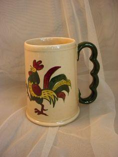 Vtg Poppytrail by Metlox Green Rooster Provencial Stein Tall Coffee Mug 5 inch #Metlox Seller florasgarden on ebay