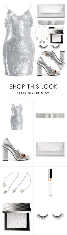 """""""Night out!"""" by simona-altobelli ❤ liked on Polyvore featuring Gucci, Dorothy Perkins, Burberry, tarte, NightOut, MyStyle, Sequins and gray"""