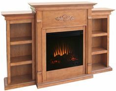 Holly & Martin Fredricksburg Fireplace with Bookcases. Portable ventless fireplace flanked by two 3 shelf bookcases. Choose electric or gel fuel models in oak, mahogany, and ivory. Find it at Comfort House. Electric Fireplace Reviews, Infrared Fireplace, Fireplace Bookshelves, Bookcases, Fireplace Inserts, Dining Room Furniture, Adjustable Shelving, Home Goods