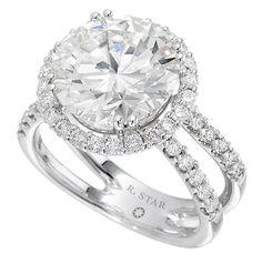 R. Star diamond halo engagement ring