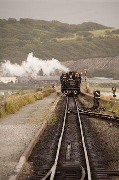 Ffestiniog Railway on the Cob, Porthmadoc. Train Car, Train Tracks, Engin, Old Trains, Holiday Places, Snowdonia, Train Journey, Local Attractions, Steam Locomotive
