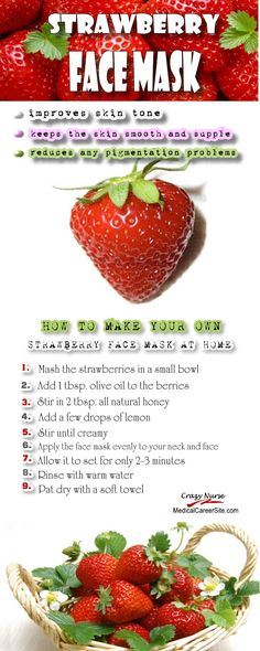 How to make your own #Strawberry #face mask at home  --------- Viral Images for Pinterest, Facebook, & Instagram. htt://cashforbloggers.com How to create amazing quote pictures for social media Fast, Easy & Free: cashforbloggers.com  #skin