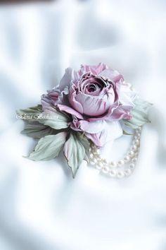 """Брошь из кожи """"Пудровая роза"""" - бледно-розовый,роза,роза ручной работы"""