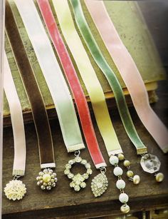 DIY GIFTS FOR HER | make beautiful bookmarks: to give with a favorite book... | Velvet Ribbon and Rhinestone Bookmarks