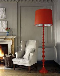 Add a pop of color - Spray paint Ikea floor lamp base. Lamp Inspiration, Interior Design Inspiration, Home Interior Design, Interior Decorating, Decorating Ideas, Ikea Floor Lamp, Floor Lamp Base, Floor Lamps, Orange Lamps