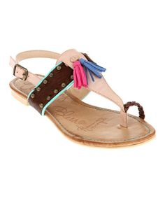 Another great find on #zulily! Pink & Blue Tassel Toe Strap Sandal #zulilyfinds