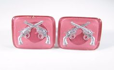 Cufflinks in Pink with Reverse Painted Revolvers- Wedding Anniversary Gift