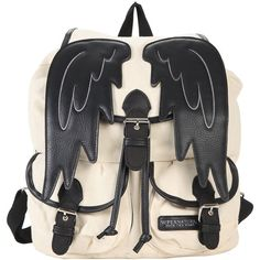 Supernatural Castiel Wings Slouch Backpack Hot Topic ($29) ❤ liked on Polyvore featuring bags and backpacks