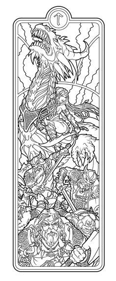 Helheim Battlemaid lines by deviantAshtareth.deviantart.com on @deviantART