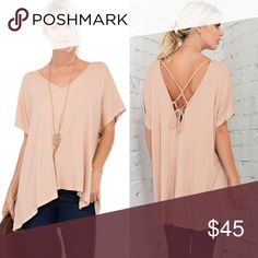 🆕ADDISON vneck plunge back top - SOFT PEACH V-neck, short sleeve top with plunged back and spaghetti strap tie detail. This top is comfortable to wear and easy to pullover.  Fabric 95% Rayon Modal 5% Spandex Made in U.S.A. 🚨NO TRADE, PRICE FIRM🚨 Bellanblue Tops Blouses