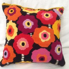 This vibrant design is hand painted in beautiful warm colours. Visit www.studiostitches.com.au for the Jeannie cushion and the full catalogue of kits.