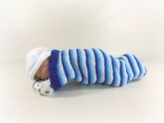 $25 USD Cocoon, Sleep Sack in blue stripes.  www.HeavenBoundHCA.etsy.com www.HeavenBoundHCA.com